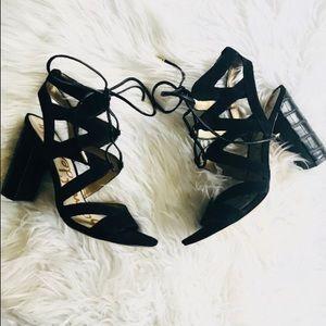 Sam Edelman Tie up chunky Black Heels